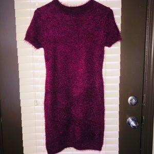 Fuzzy Burgundy Mini Dress